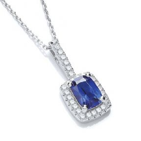 J-Jaz Micro Pave' Fancy Pendant Blue Small Cz with 18